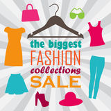 Vector illustration of hanger, clothes and sale information Royalty Free Stock Image