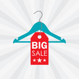 Vector illustration of a hanger with sale label Stock Photos