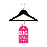 Vector illustration of a hanger with sale label Stock Image