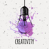 Vector illustration with hanging grunge light bulb Stock Photo