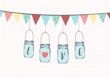 Vector illustration of hanging mason jars Royalty Free Stock Images