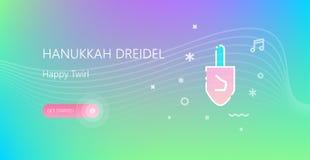 Hanukkah dreidel for Jewish Festival banner. Vector illustration of Hanukkah dreidel banner on colorful background Stock Photo