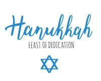 Vector illustration for Hanukkah Feast of Dedication. Lettering text sign on snowy sky background. Judaism symbol. Hanukkah logo for greeting card template Royalty Free Stock Photos