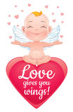 Vector illustration with happy baby cupid. Stock Photo