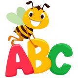 Bee Flying with ABC letters. Vector Illustration of Happy Bee flying carrying the ABC letters vector illustration