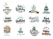 Vector illustration of Happy Birthday badge set. Design element for greeting cards, banner, print with lettering typography text sign, quote, cake, candle Stock Photography