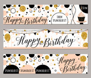 Vector illustration of happy birthday cards.  Royalty Free Stock Photos