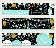 Vector illustration of happy birthday cards. Fashion background with cupcake, balloon, gold sparkles. Golden elements Stock Photos