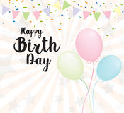 Vector Illustration of a Happy Birthday Greeting Card. With balloons and stars Royalty Free Stock Images