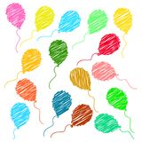 Birthday balloons  pattern  background - vector illustration. Vector illustration of happy birthday party balloons pattern on white background Stock Images