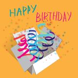 Vector illustration. Happy birthday. Ribbon and Stock Photos