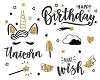 Vector illustration of a Happy Birthday set. With stars and unicorn. Greeting card with `Happy Birthday` inscription. Can be used for cards, flyers, posters, t Royalty Free Stock Photos