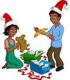 Kids Opening Xmas Gift Boxes. Vector illustration of happy black children opening Christmas presents stock illustration