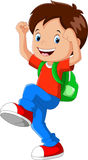 Vector illustration of happy boy with backpack going to school Stock Photography