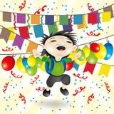 Vector illustration. Happy boy. Vector festive illustration. Cartoon happy boy Stock Photos