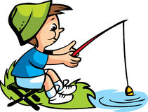 Vector illustration with a happy boy fishing Stock Photo