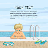 Vector illustration of a happy boy in the outdoor pool. A smiling child on a background of sky and water with beach accessories, slippers and glasses for diving Royalty Free Stock Photos