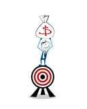 Vector illustration happy businessman standing over target and raising hands with money bag Royalty Free Stock Images