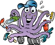 Vector illustration of an Happy Busy Octopus Royalty Free Stock Photography