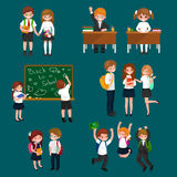Vector illustration of happy children doing different fun activities at school like painting,studying,learning and Royalty Free Stock Photo