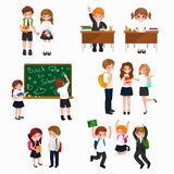 Vector illustration of happy children doing different fun activities at school like painting,studying,learning and Stock Photography