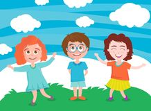 Vector illustration of happy children playing royalty free illustration