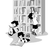 Vector illustration of happy children reading books in bookshop Royalty Free Illustration