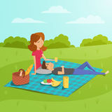 Vector illustration of happy couple having picnic in the park. Royalty Free Stock Photography