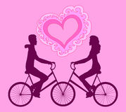 Vector illustration with happy couple riding on bikes towards each other Stock Images