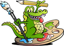 Vector illustration of an Happy Creative Artist Crocodile Stock Photography