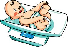 Vector illustration, with a baby on a weighing scale Royalty Free Stock Photo