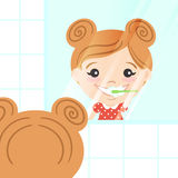 Vector illustration of happy cute girl cleaning her teeth Stock Image