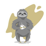 Vector illustration of happy cute sloth with the cup of tea Royalty Free Stock Image