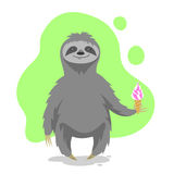 Vector illustration of happy cute sloth holding an ice cream Stock Photo