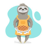 Vector illustration of happy cute sloth wearing kitchen apron Royalty Free Stock Photography