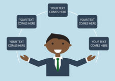 Vector illustration of happy dark skin business man in suite spreading his arms. Infographic template with text Stock Photo