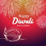 Vector illustration of happy diwali greeting design with colorful background and burning diya. Hand drawn creative banner colorful holiday background royalty free illustration
