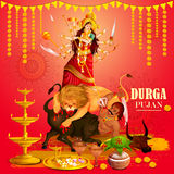 Happy Durga Puja festival background for India holiday Dussehra Stock Image