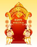 Happy Durga Puja festival background for India holiday Dussehra. Vector illustration of Happy Durga Puja festival background for India holiday Dussehra Stock Photo
