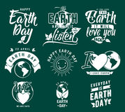 Vector illustration of happy Earth day element set with earth globe, leaves Royalty Free Stock Image