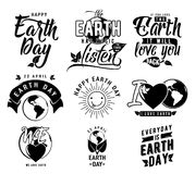 Vector illustration of happy Earth day element set with earth globe, leaves Royalty Free Stock Photo