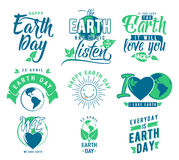 Vector illustration of happy Earth day element set with earth globe, leaves Stock Photography