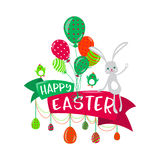 Vector illustration of happy easter greeting concept Royalty Free Stock Images