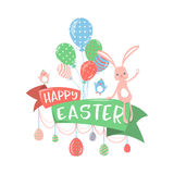Vector illustration of happy easter greeting concept Royalty Free Stock Image