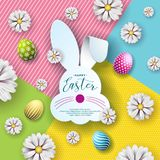 Vector Illustration of Happy Easter Holiday with Nice Rabbit Face Silhouette and Typography Letter, Flower, Painted Egg. On Abstract Color Background Stock Photos