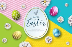 Vector Illustration of Happy Easter Holiday with Painted Egg and Flower on Abstract Background. International. Celebration Design with Typography for Greeting stock illustration