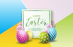 Vector Illustration of Happy Easter Holiday with Painted Egg and Flower on Clean Background. International Celebration. Design with Typography for Greeting Card royalty free illustration