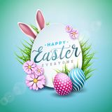 Vector Illustration of Happy Easter Holiday with Painted Egg, Rabbit Ears and Flower on Shiny Blue Background. International Celebration Design with Typography