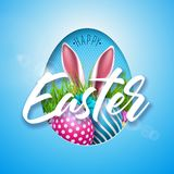 Vector Illustration of Happy Easter Holiday with Painted Egg, Rabbit Ears and Flower on Shiny Blue Background Stock Images