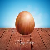 Vector Illustration of Happy Easter Holiday with Wooden Egg on Vintage Nature Background. International Celebration Royalty Free Stock Image